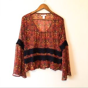Band Of Gypsies Orange Floral Bell Sleeve Size S